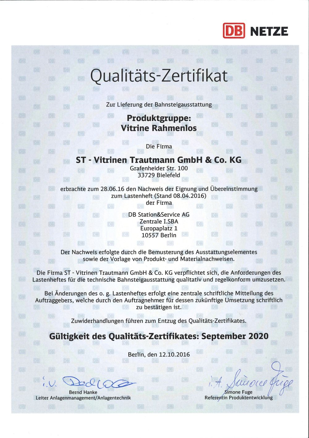 DEUTSCHE BAHN | Quality Certification - ST-Vitrinen