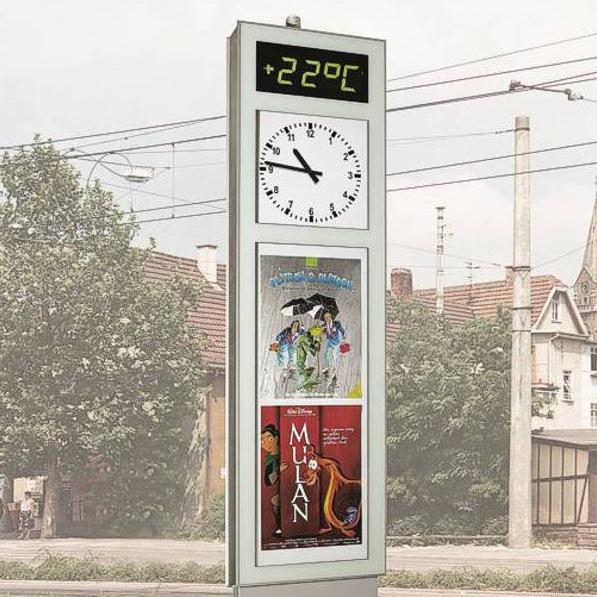VITRUM-Uhr mit digitaler Temperatur-Anzeige und Werbefläche für große Plakatformate (U4.6)