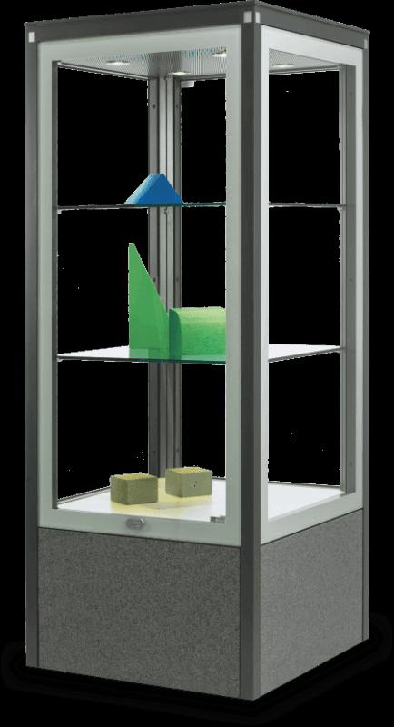 VITRUM Boulevard Vitrine als quadratische Säule mit LED-Beleuchtung in der Decke und Sockel in grauem Granit (AV 501)